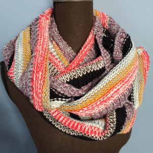 Rainbow Stripe Sweater Knit Infinity Scarf
